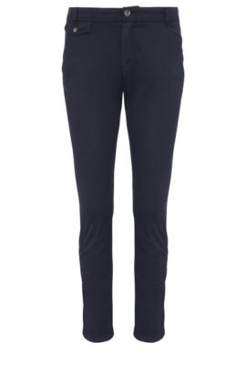 Relaxed-fit chinos in stretch cotton: 'Sochini1-D', Dark Blue