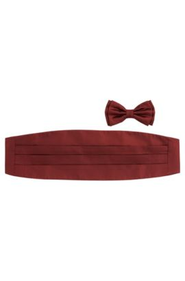 Bow-tie and cummerbund set in silk: 'Set bow tie + cummerbund', Open Red