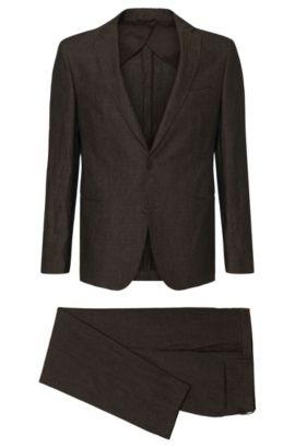 Extra Slim-Fit Anzug aus Leinen: 'Renold/Wyatt', Dunkelbraun