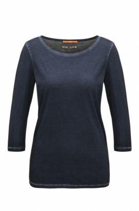 T-shirt Slim Fit en coton teint en pièce, Bleu foncé