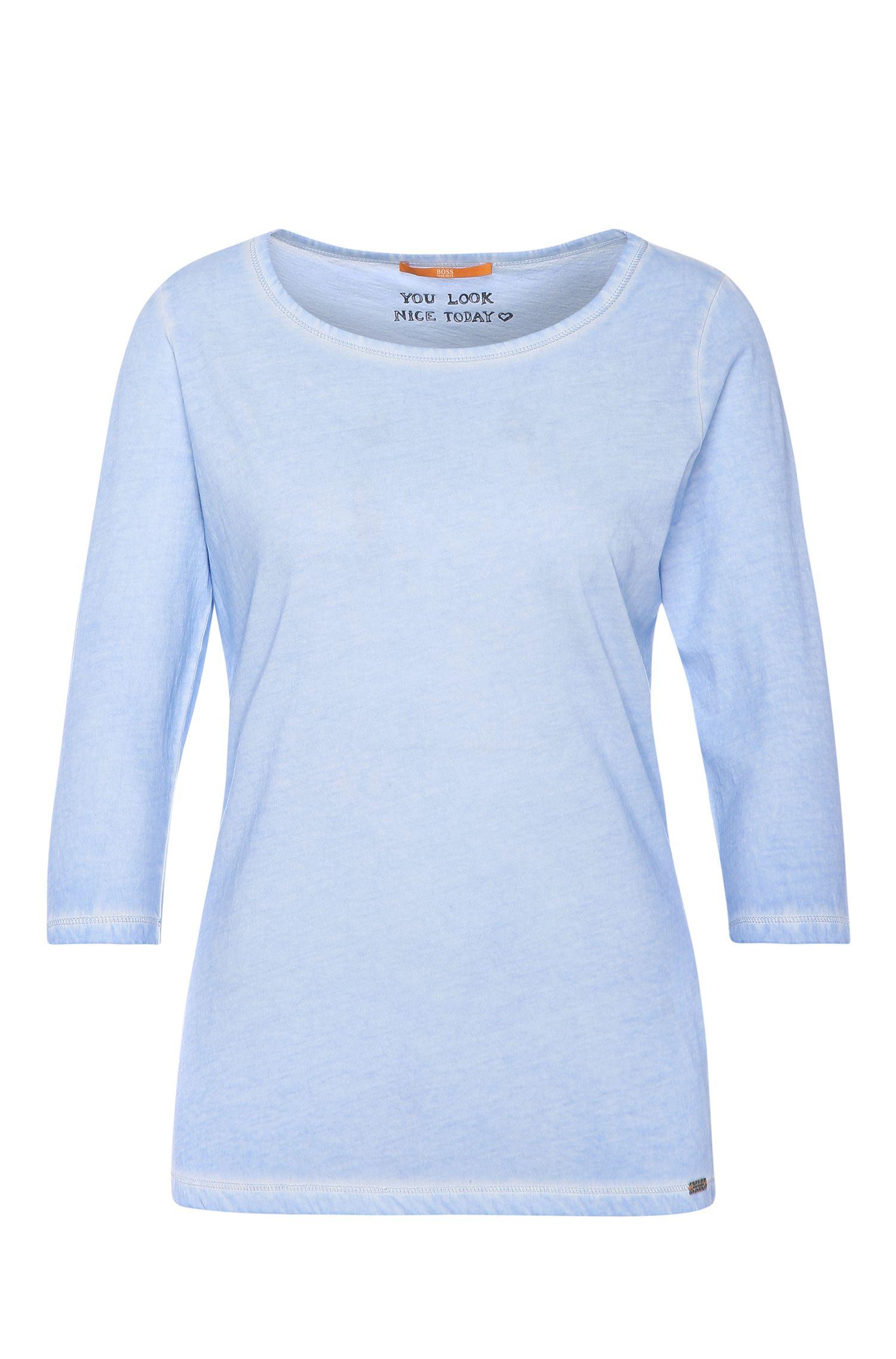 T-shirt Slim Fit en coton teint en pièce