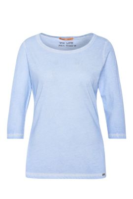 Slim-fit T-shirt in garment-dyed cotton, Light Blue