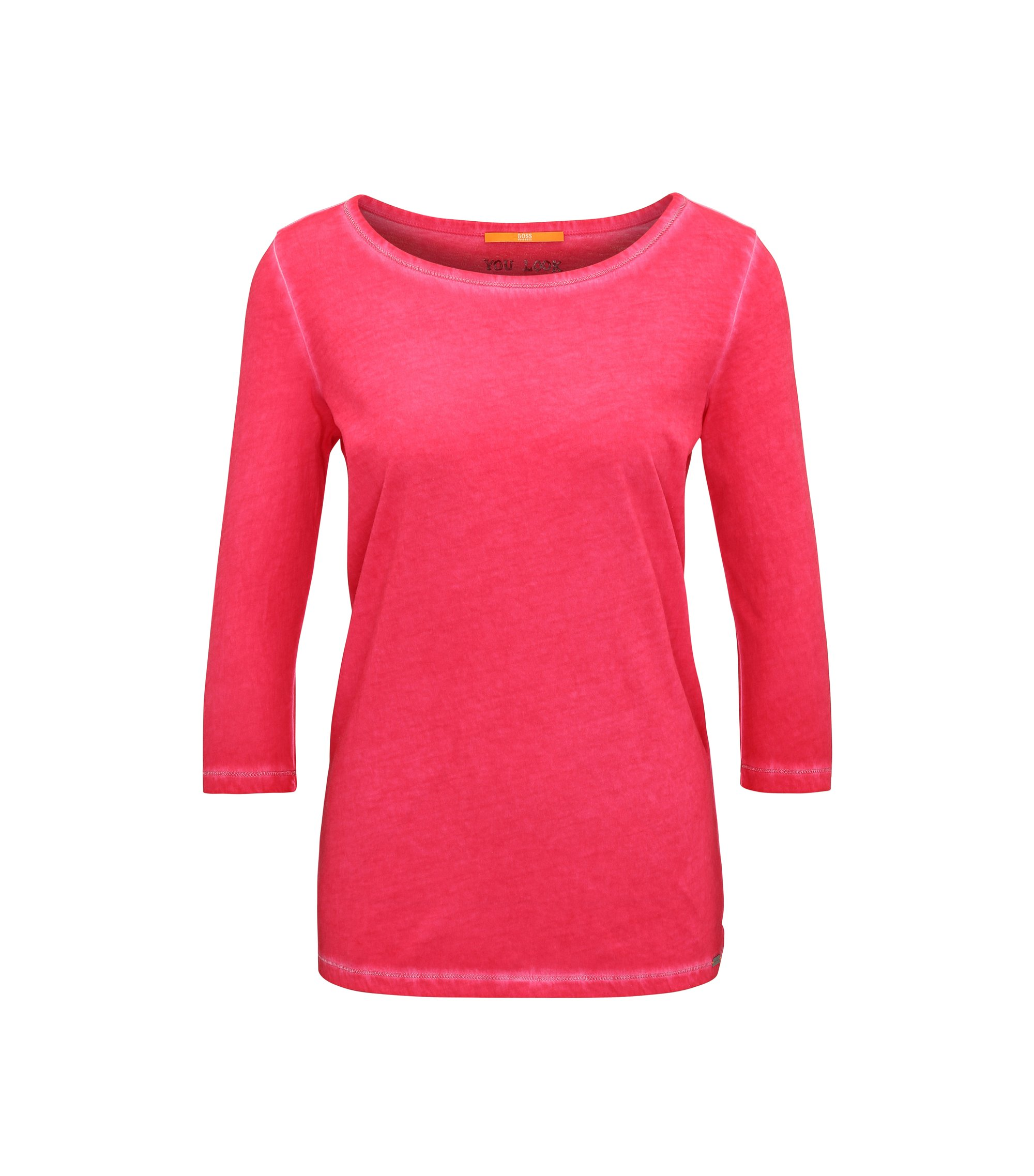 Slim-fit T-shirt in garment-dyed cotton, Pink