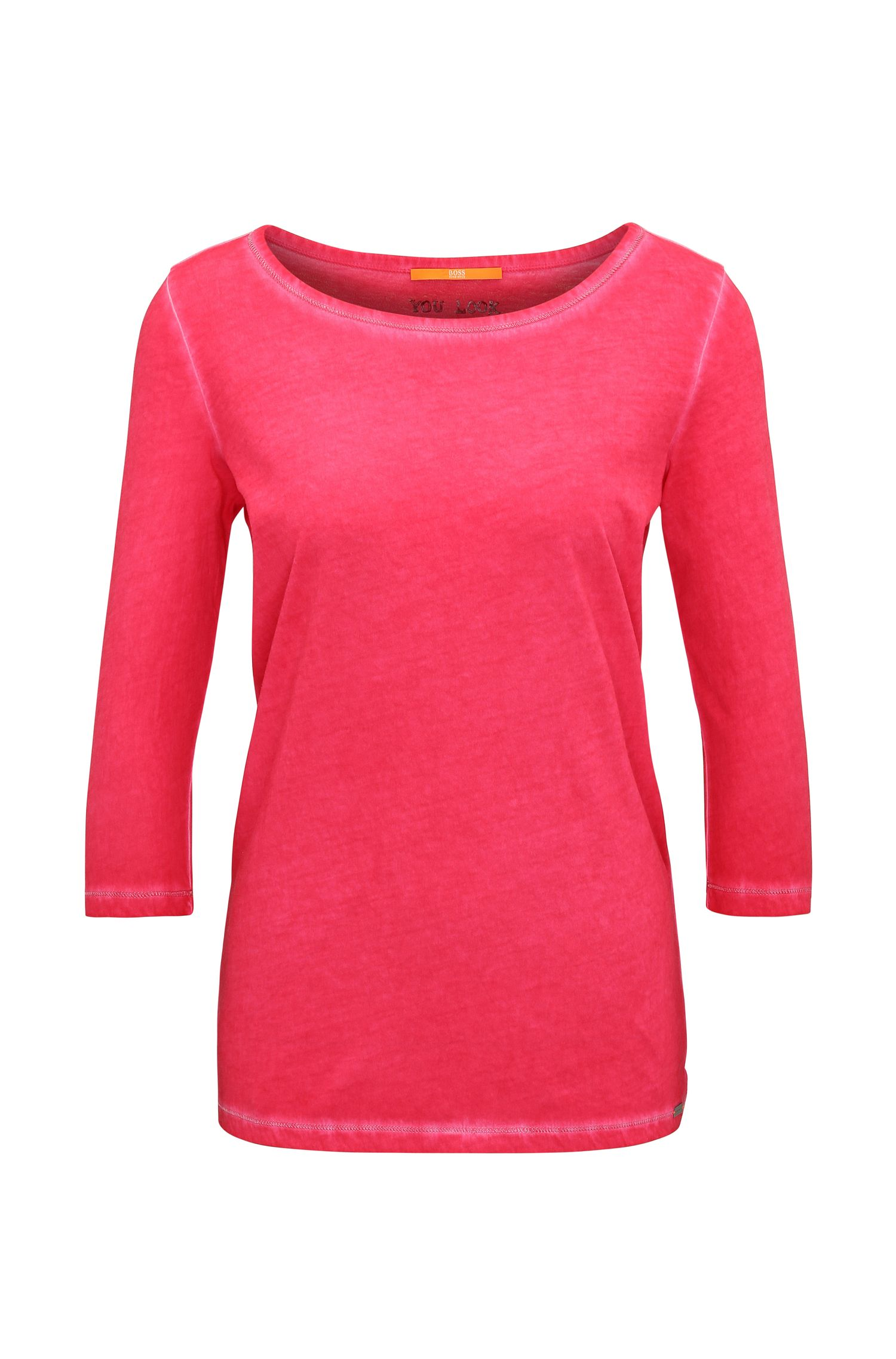 Slim-fit T-shirt in garment-dyed cotton