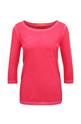 T-shirt slim fit in cotone tinto in capo, Rosa