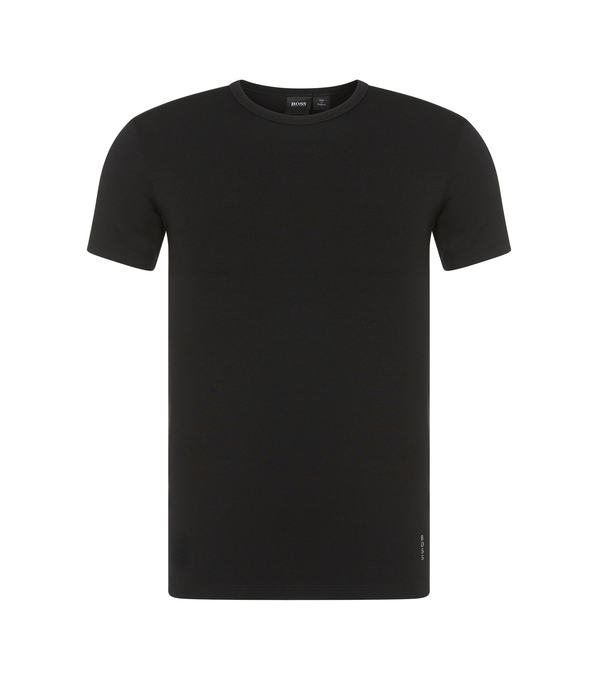 T-shirt slim fit in microfibra elasticizzata, Nero