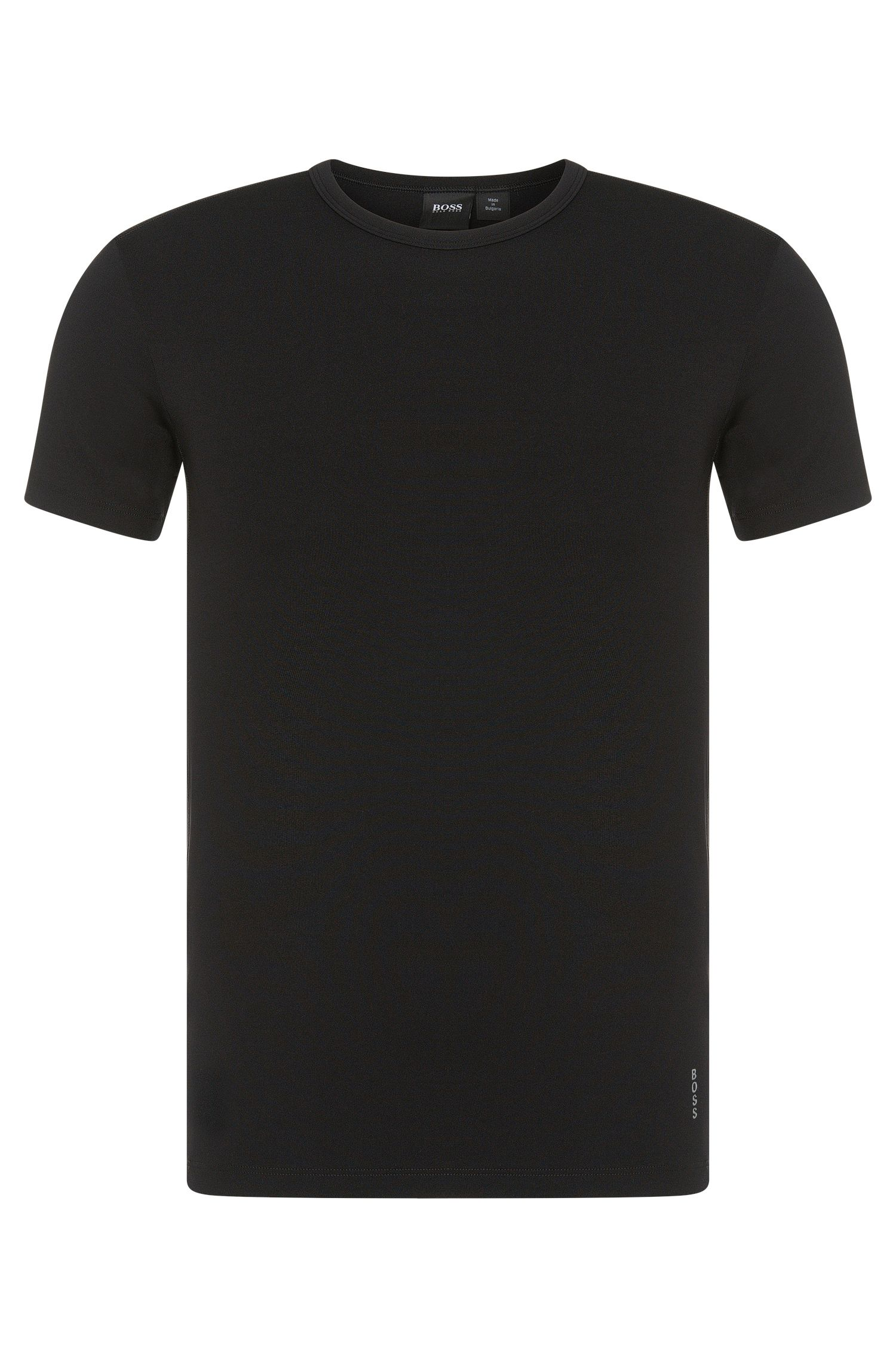 T-shirt Slim Fit en microfibre stretch, Noir
