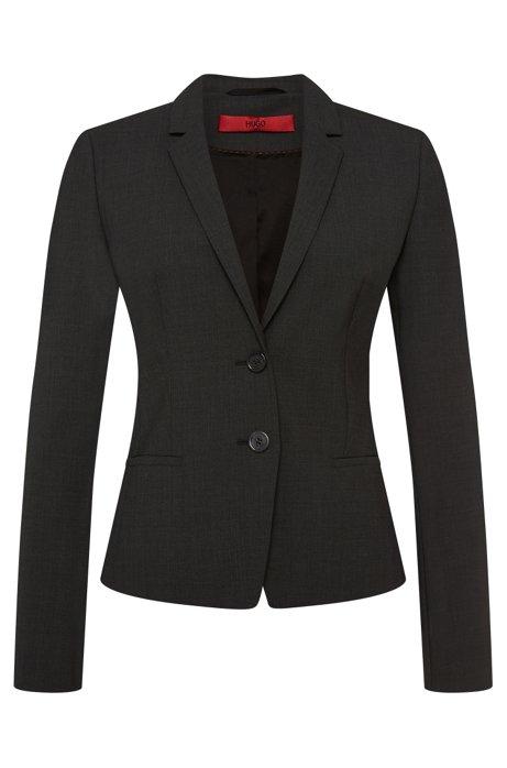 Regular-fit blazer in stretch new wool: 'Afrona', Dark Grey