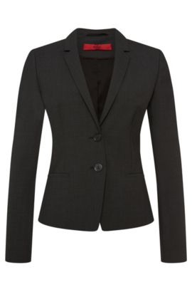 Regular-fit blazer in stretch new wool: 'Afrona', Dark Grey