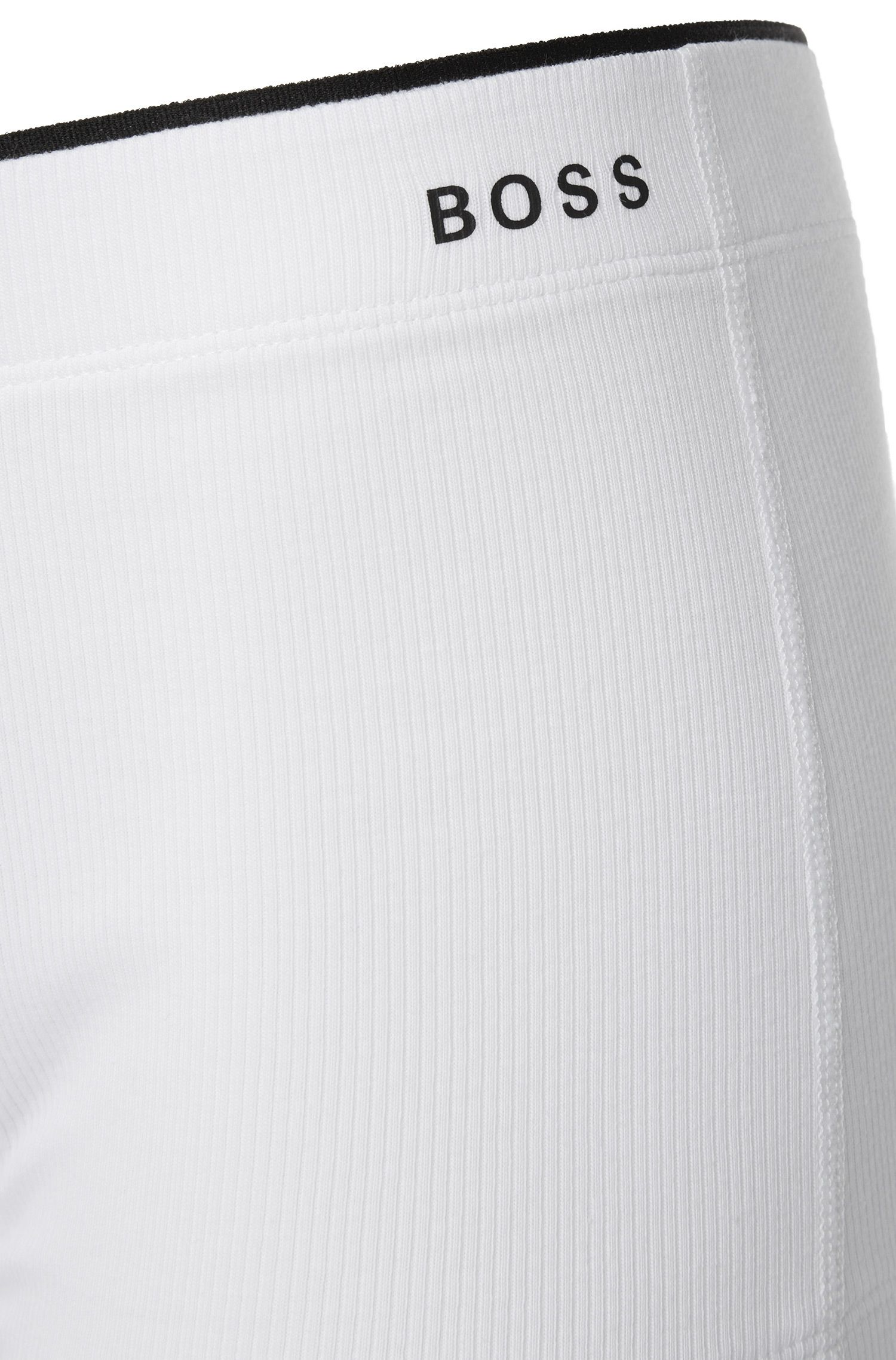 Regular-rise boxer briefs in ribbed stretch cotton, White