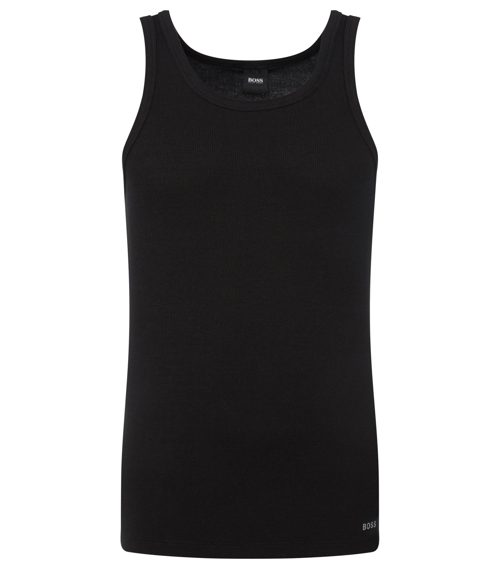 Slim-fit ribbed vest in stretch cotton, Black
