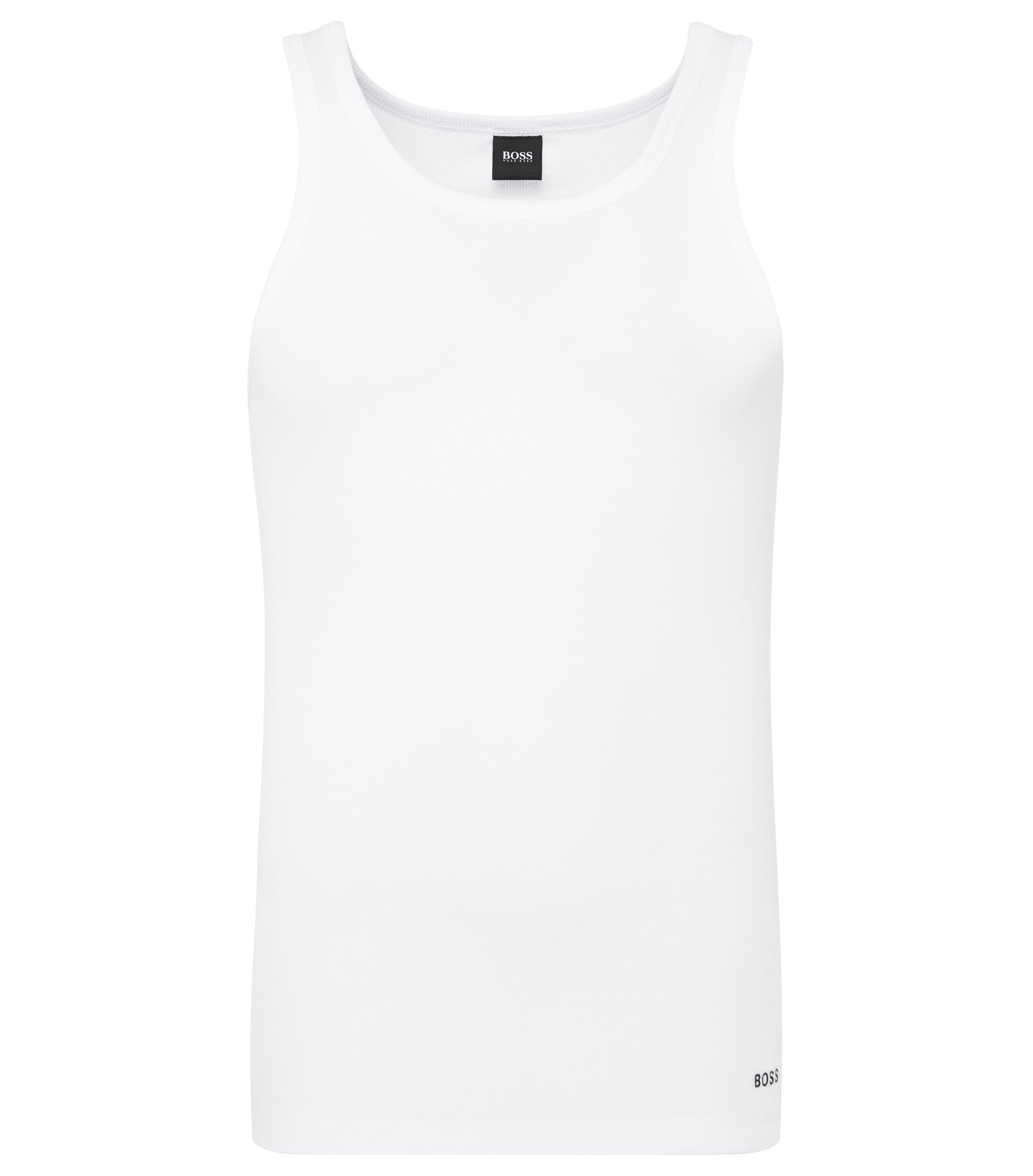 Slim-fit ribbed vest in stretch cotton, White