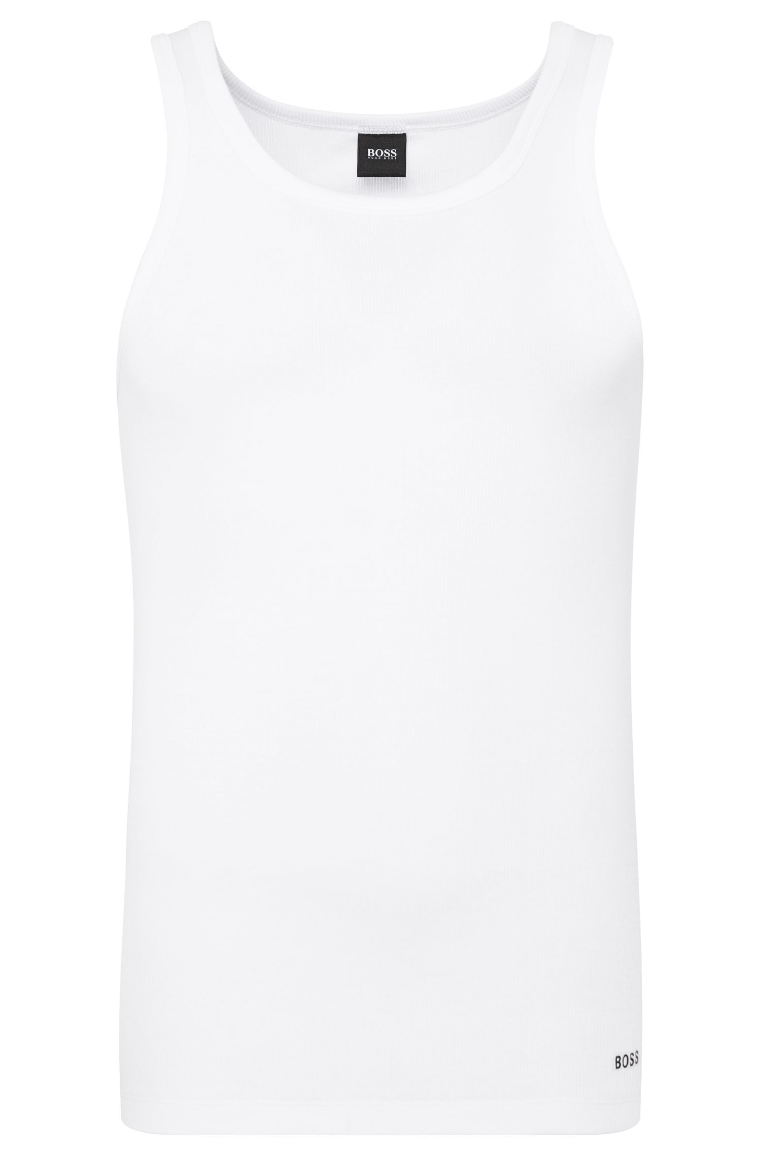 Slim-fit ribbed vest in stretch cotton