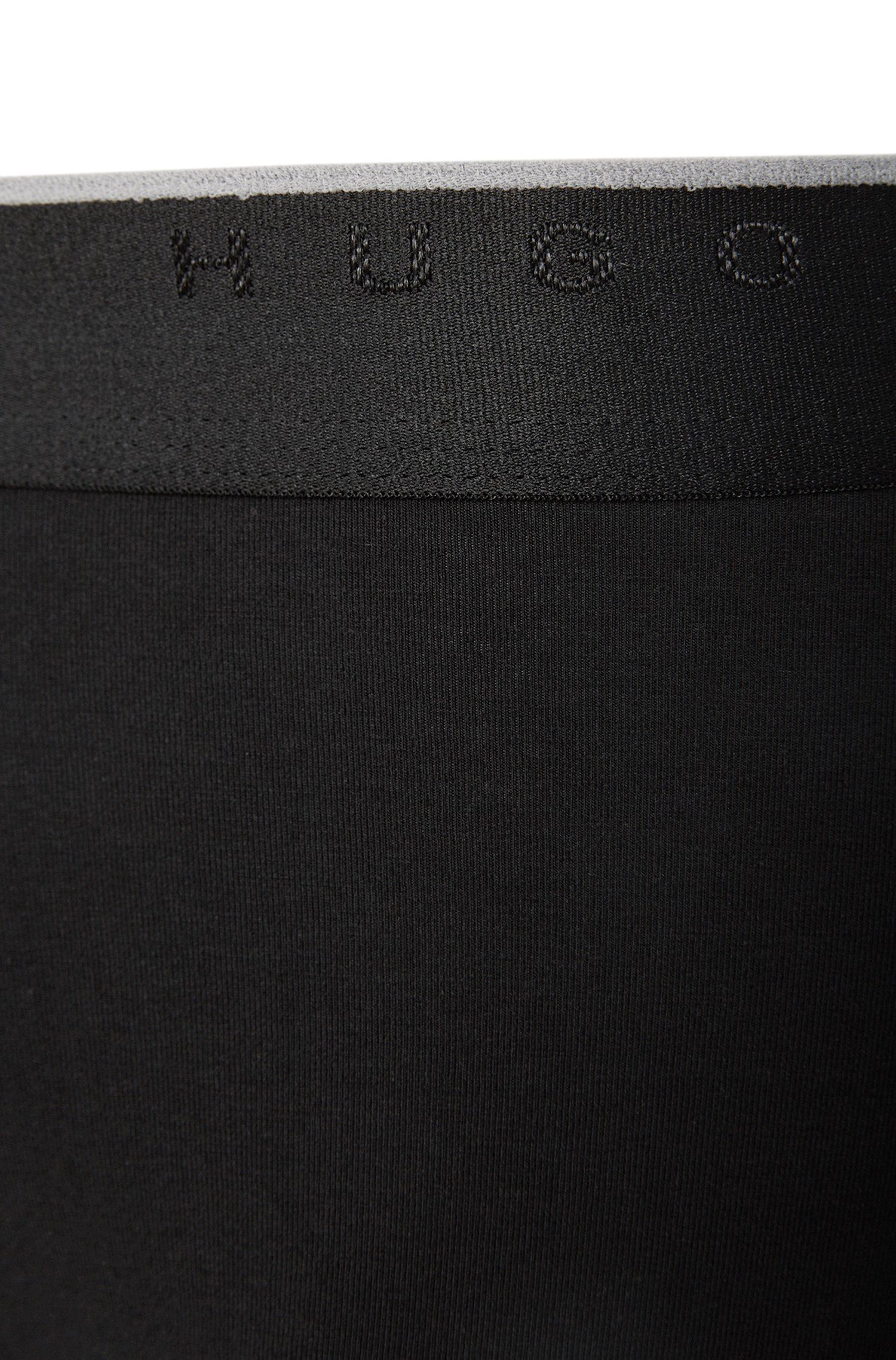Boxershorts aus elastischer Baumwolle mit mittlerer Bundhöhe, Schwarz