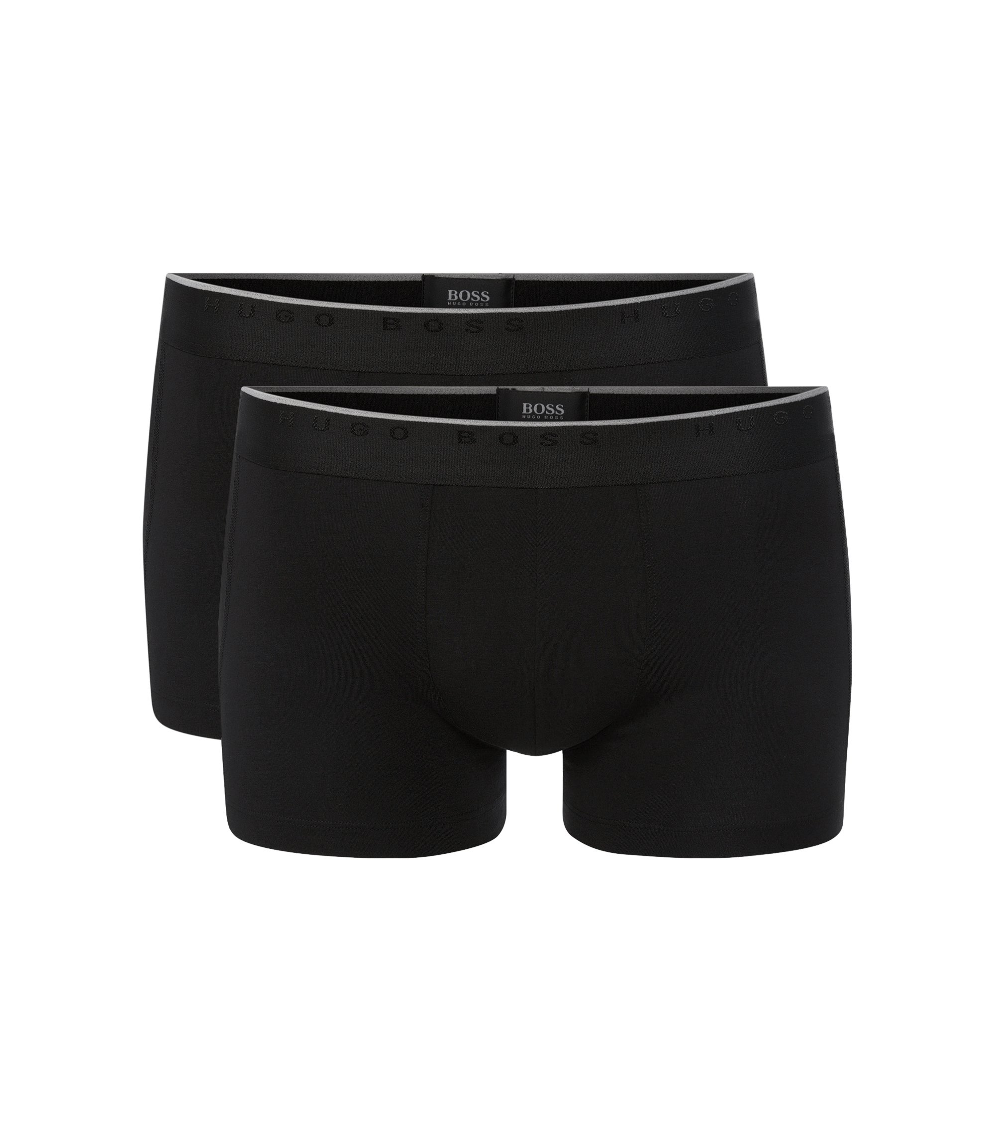 Regular-rise boxer shorts in stretch cotton, Black