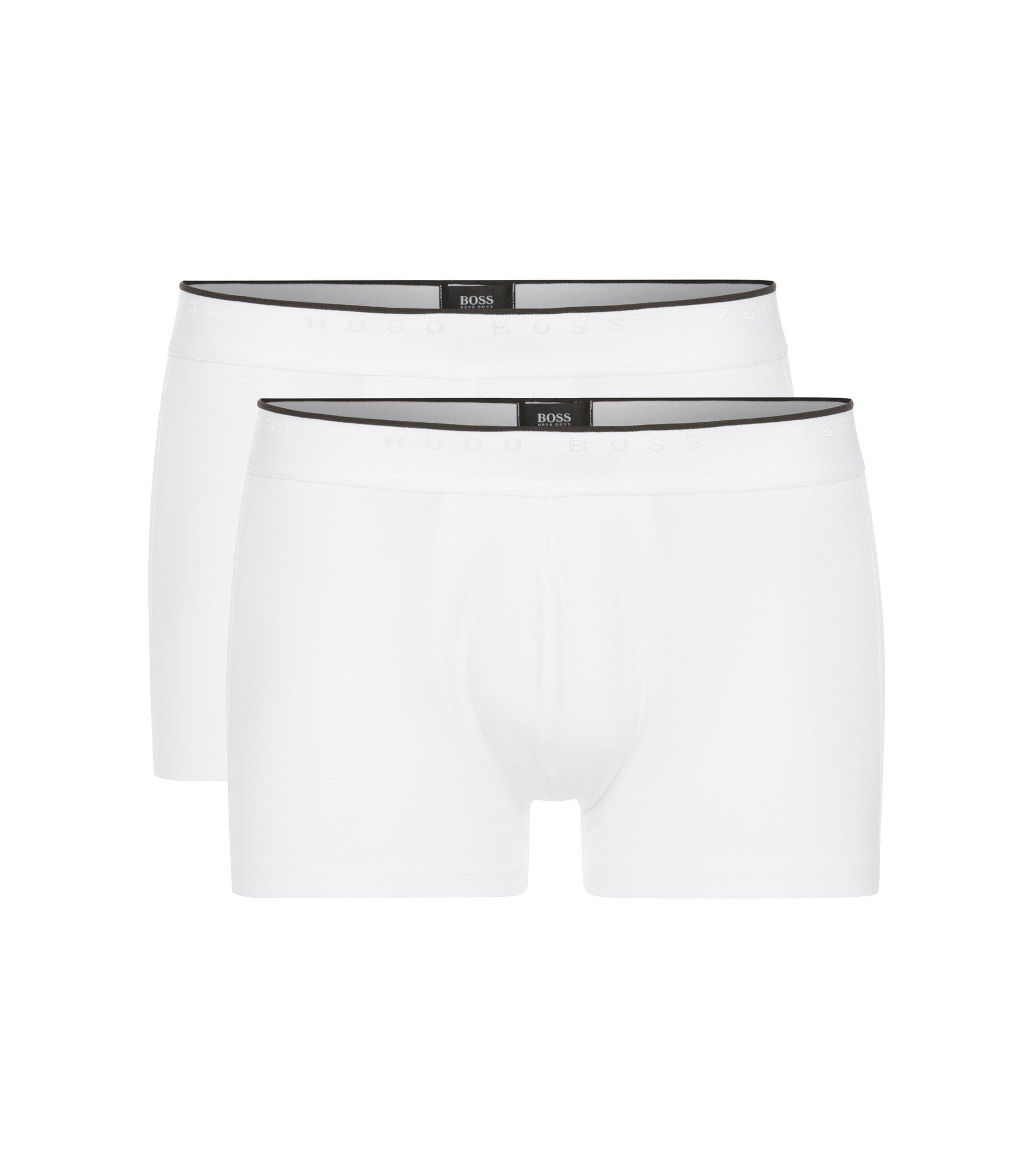 Boxershorts aus elastischer Baumwolle mit mittlerer Bundhöhe, Weiß