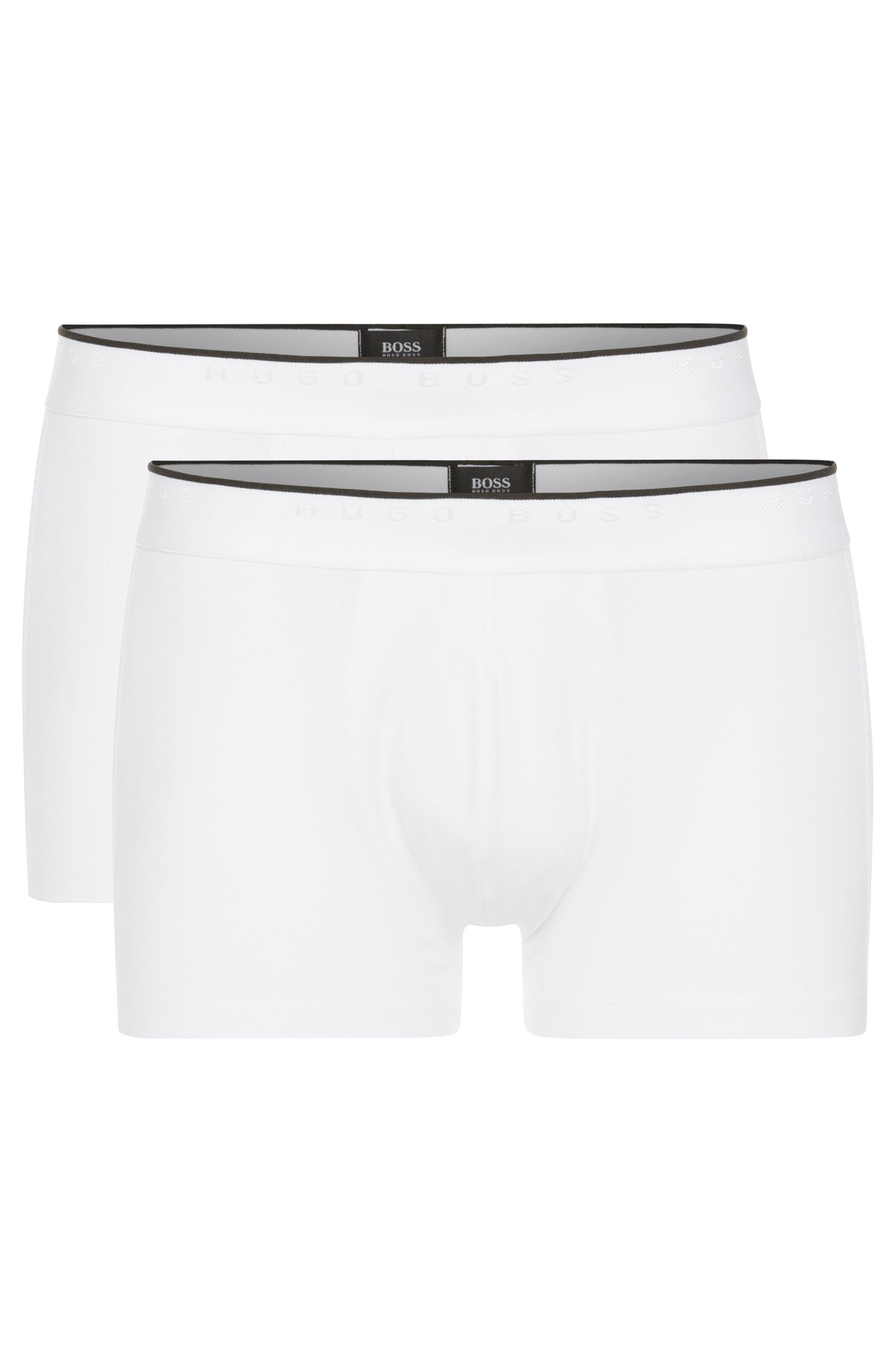 Boxer Regular Rise en coton stretch, Blanc
