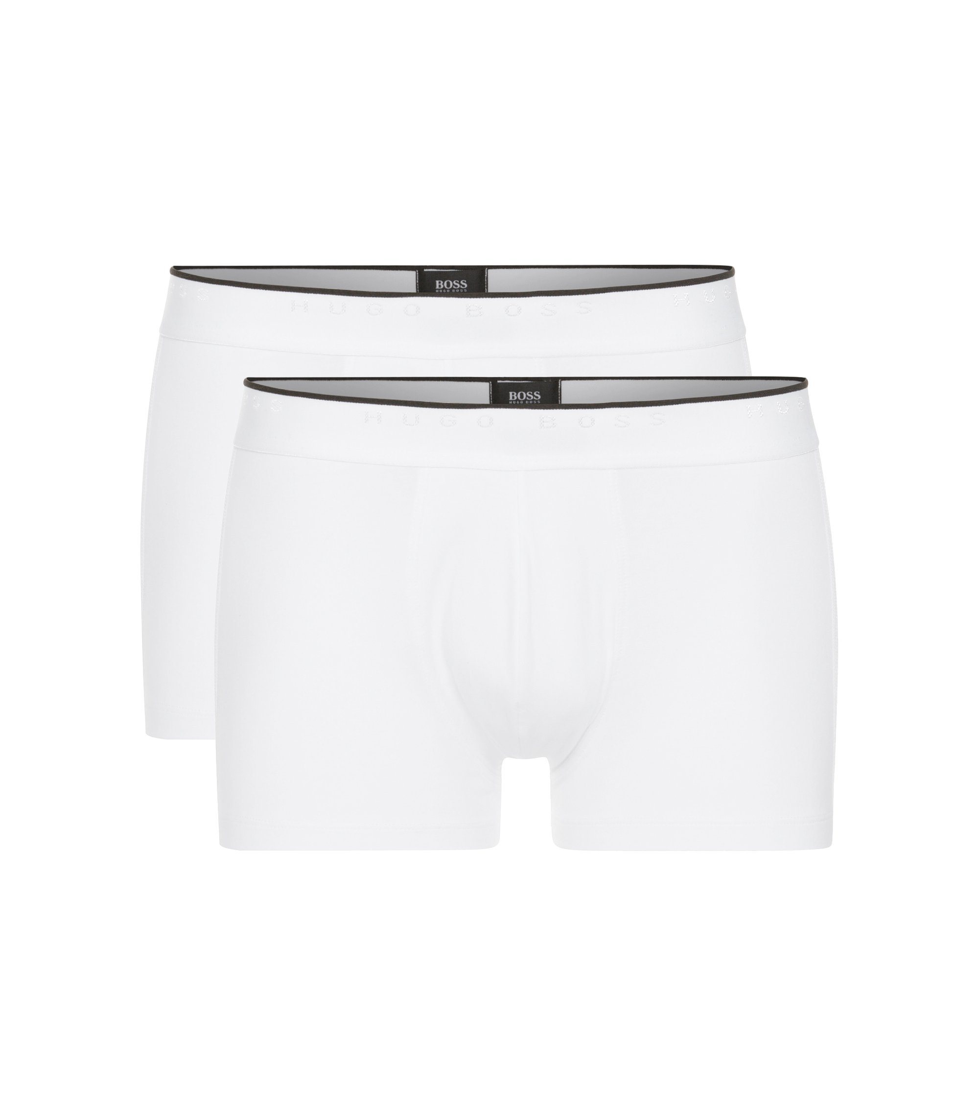 Regular-rise boxer shorts in stretch cotton, White