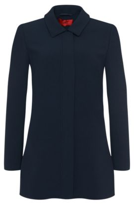 Slightly flared coat: 'Fyone', Open Blue
