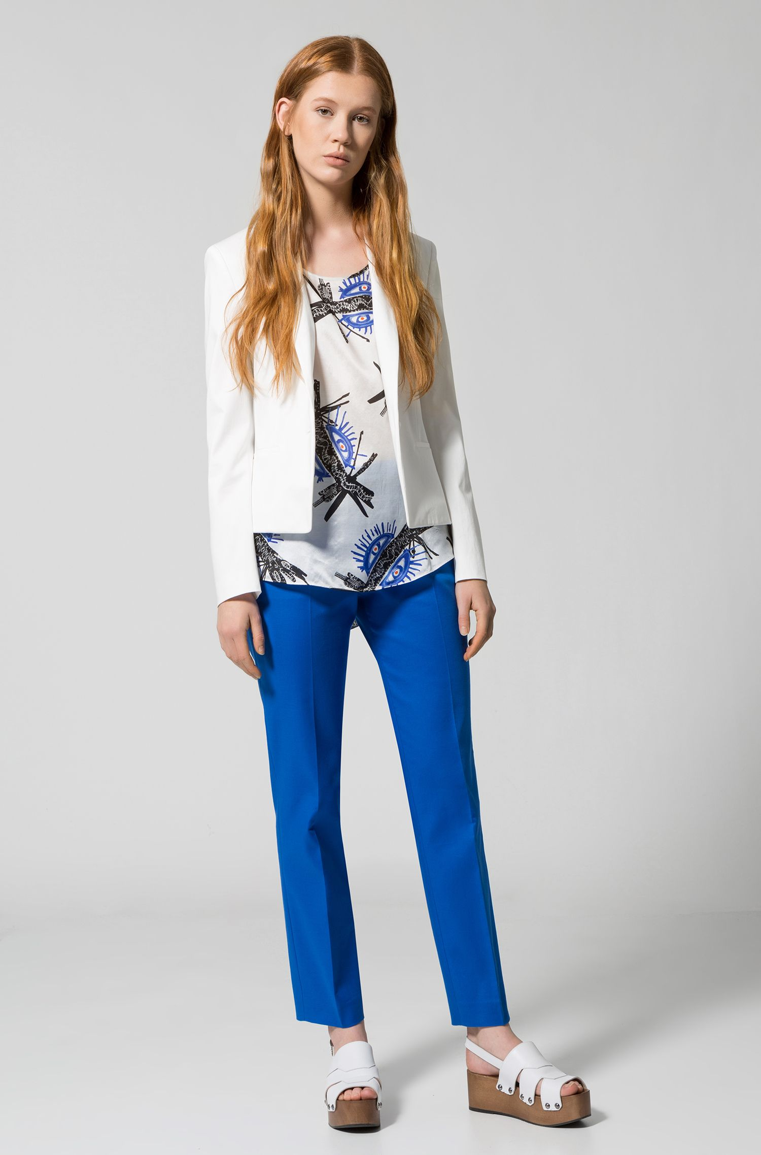 Regular-fit cropped jacket in stretch cotton