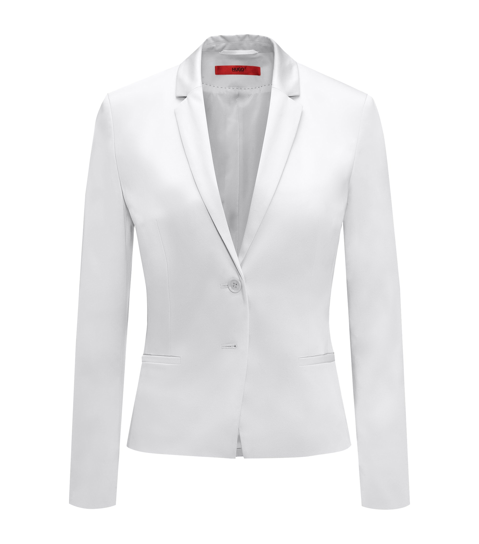 Regular-fit cropped jacket in stretch cotton, Natural