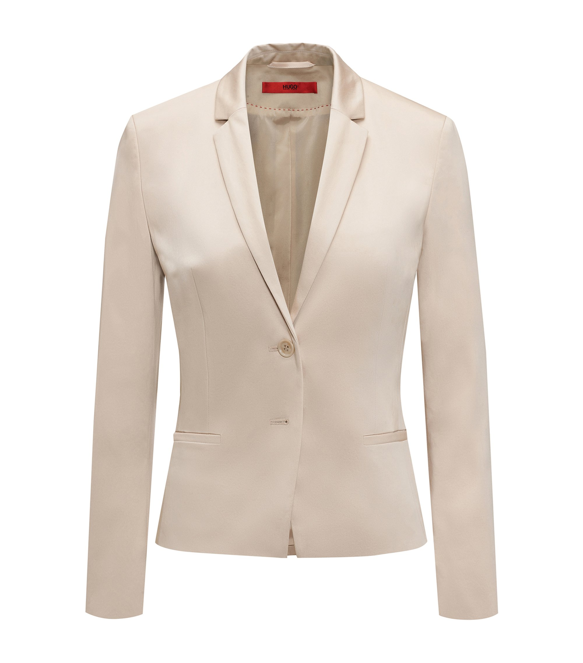 Regular-fit cropped jacket in stretch cotton, Beige