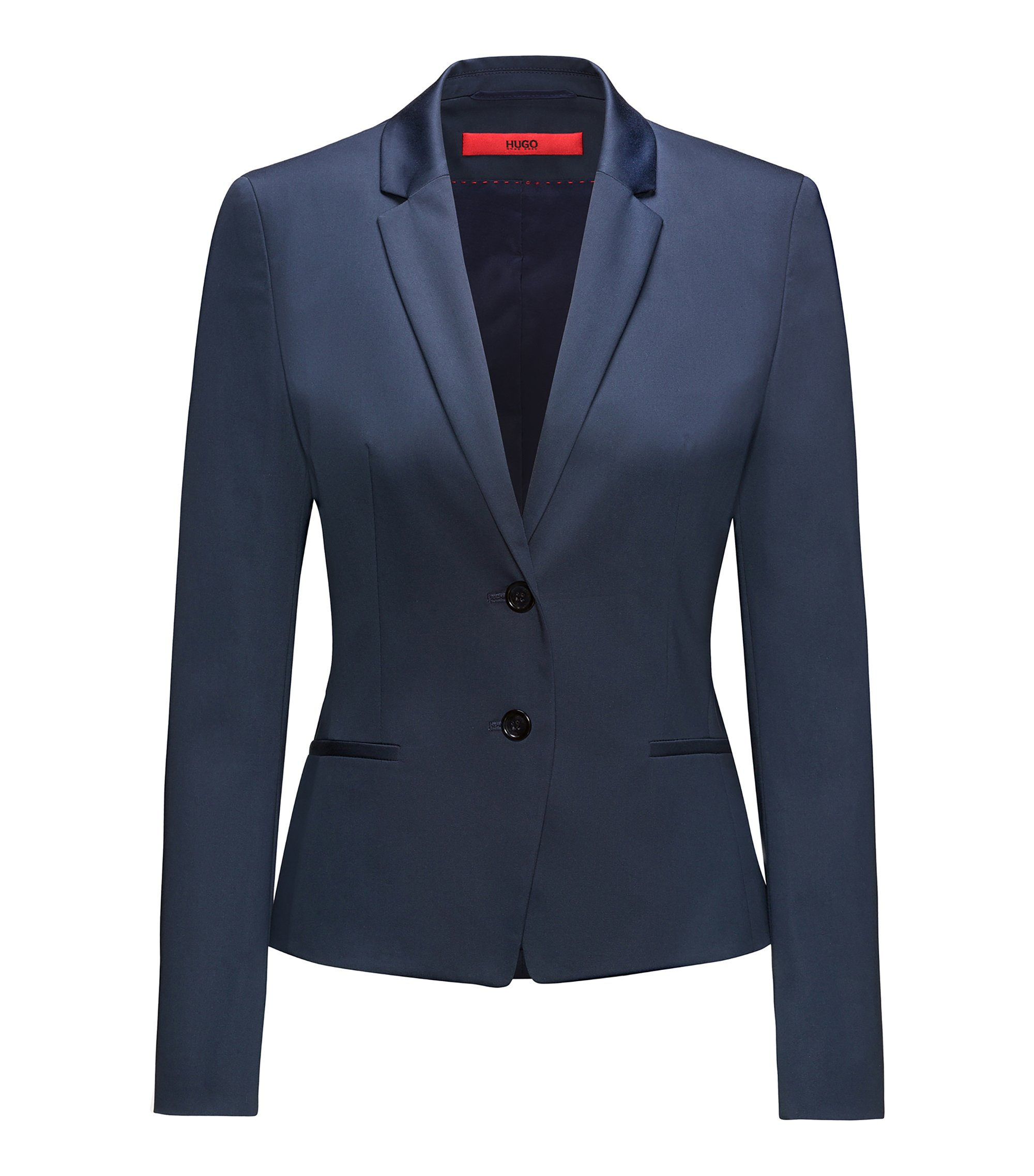 Blazer court Regular Fit en coton stretch, Bleu foncé