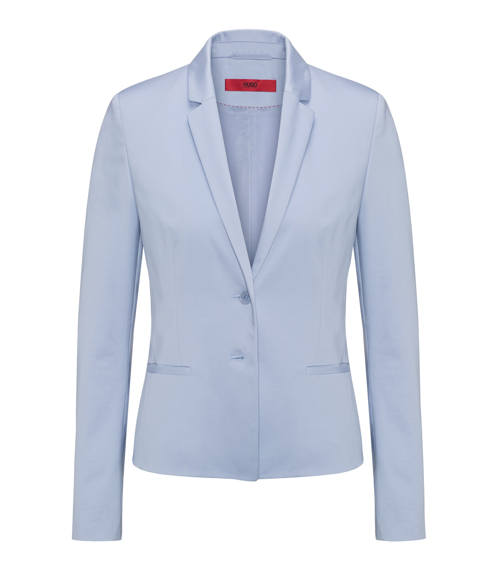 Regular-Fit Kurzblazer aus Stretch-Baumwolle, Hellblau