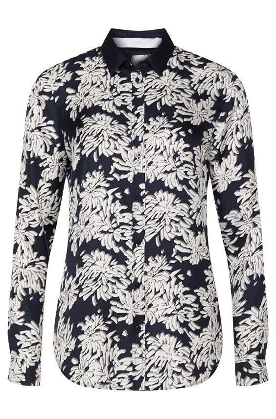 Regular-fit blouse in silk: 'Bamia1', Patterned