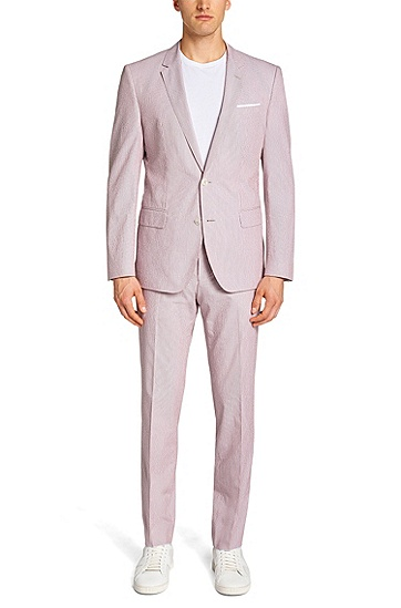 Slim-fit suit in cotton blend: 'Hedson2/Gander1', Patterned