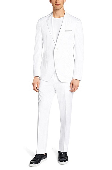 Extra-slim-fit suit in cotton: 'Niclas/Barrister-T', White