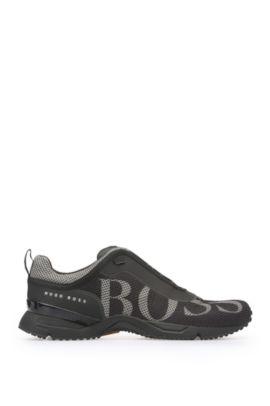 Sneakers van logo-mesh: 'Velox', Zwart