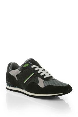 Sneakers van een materiaalmix met leer: 'Runcool Camo', Groen