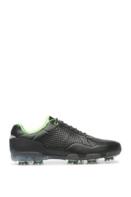 Golf shoes in patterned leather, Black