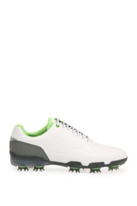 Golf shoes in patterned leather, White