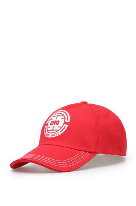 Baseball cap with stitching: 'Cap Flag 2', Dark Red