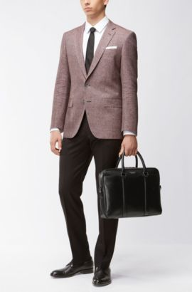 Signature Collection bag in palmellato leather by BOSS, Black