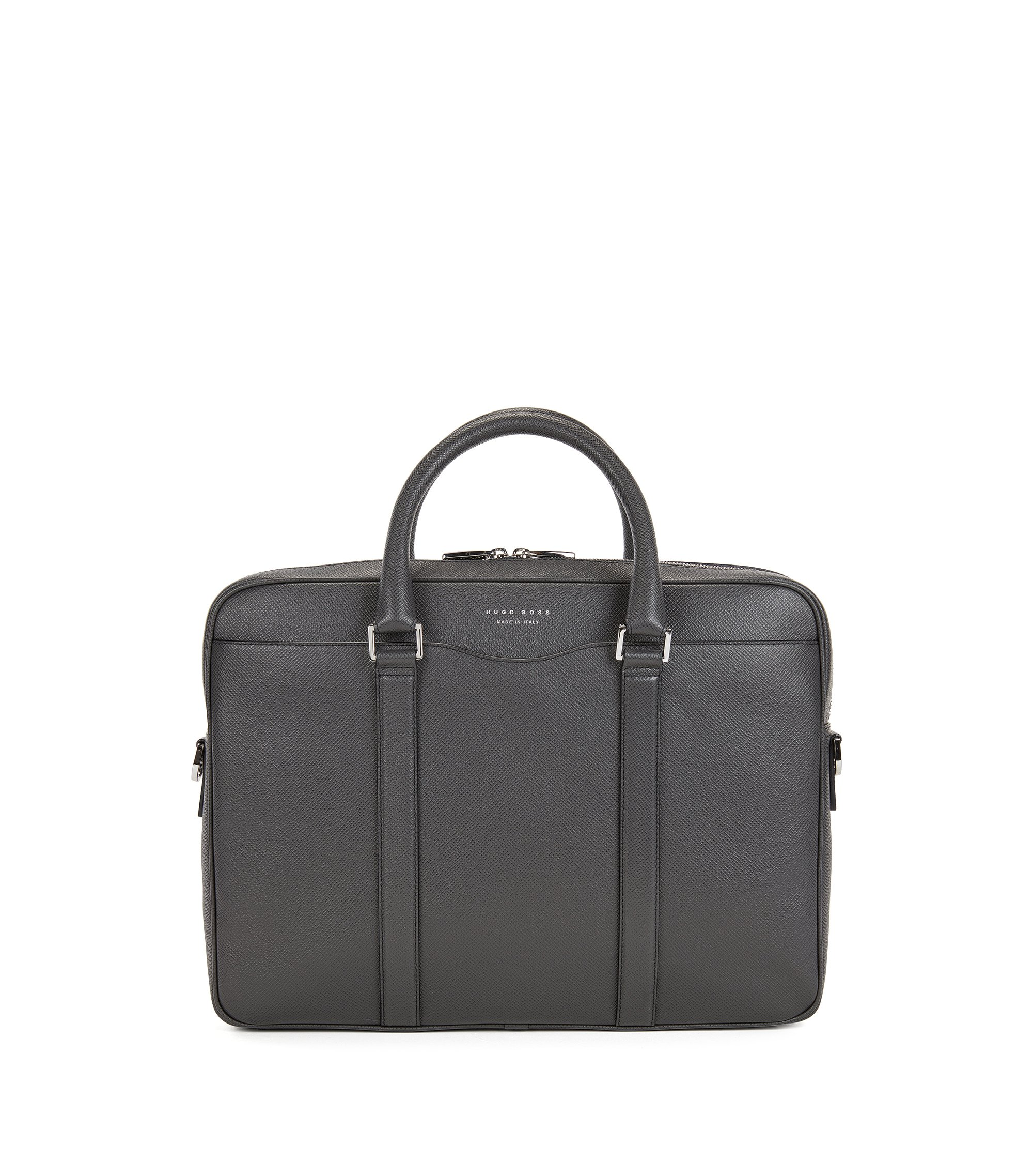 Sac de la collection Signature en cuir palmellato, Gris sombre