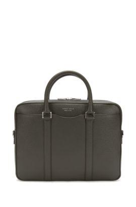 Tasche aus Palmellato-Leder aus der Signature Kollektion von BOSS, Dunkelgrün