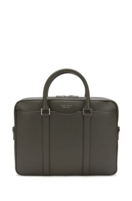 Signature Collection bag in palmellato leather by BOSS, Dark Green