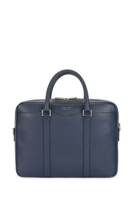 Signature Collection bag in palmellato leather by BOSS, Dark Blue