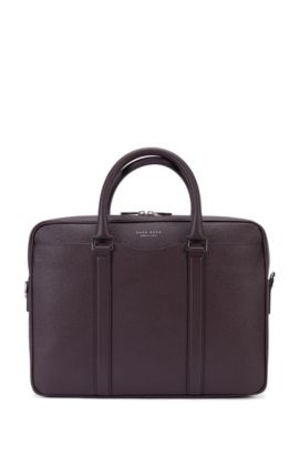 Signature Collection bag in palmellato leather by BOSS, Dark Red