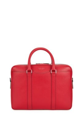 Signature Collection bag in palmellato leather by BOSS, Red
