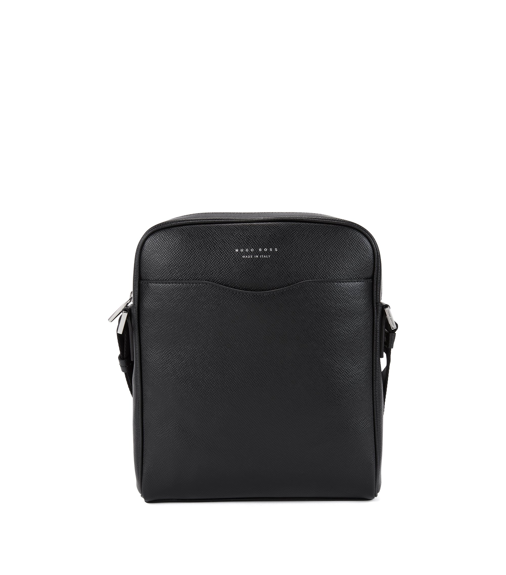 Sac reporter de la collection Signature en cuir palmellato, Noir