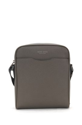 Sac reporter de la collection Signature en cuir palmellato, Gris sombre