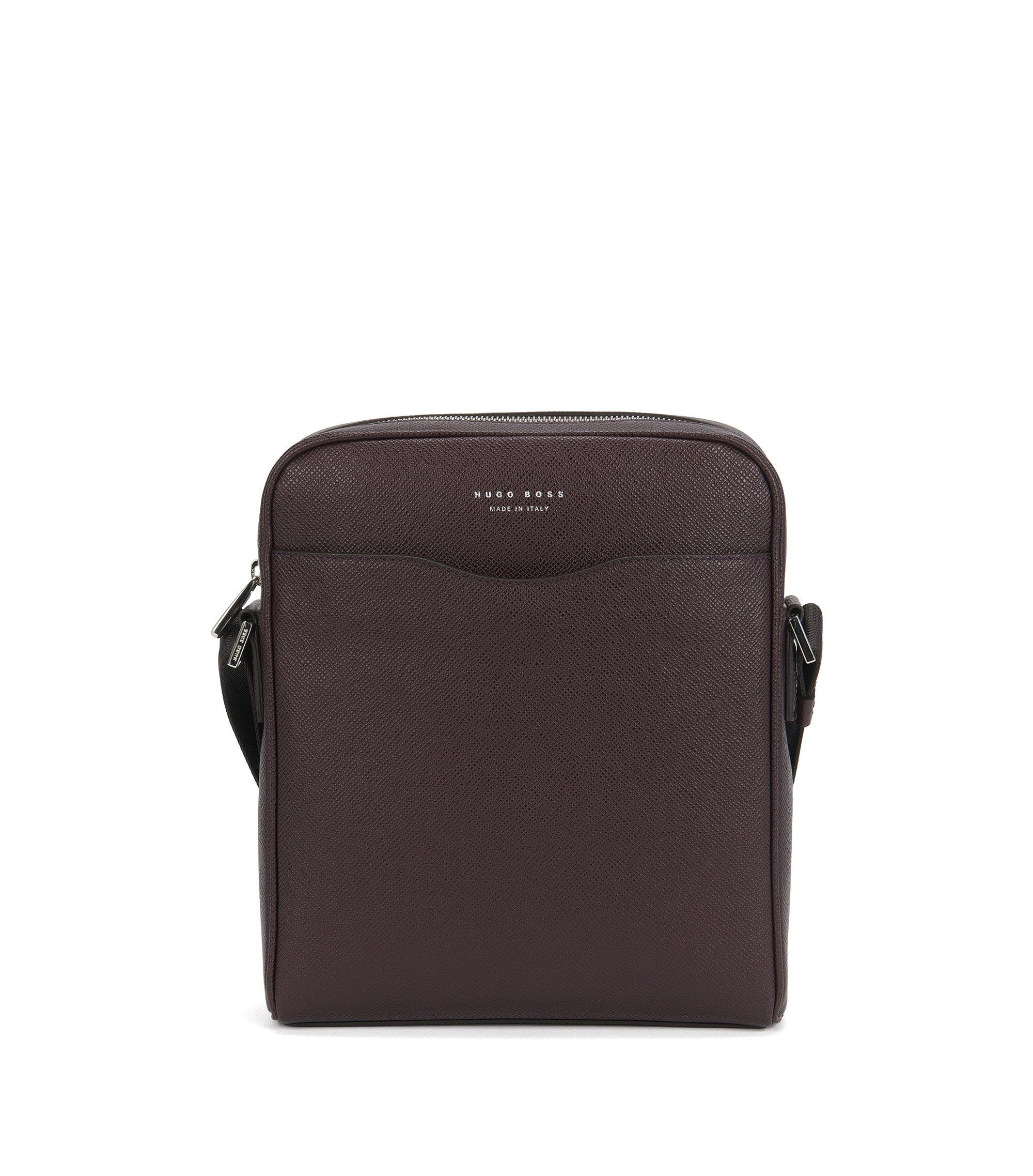 Sac reporter de la collection Signature en cuir palmellato, Rouge sombre