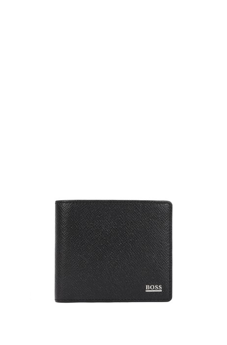 Signature Collection wallet in palmellato leather with coin pocket, Black
