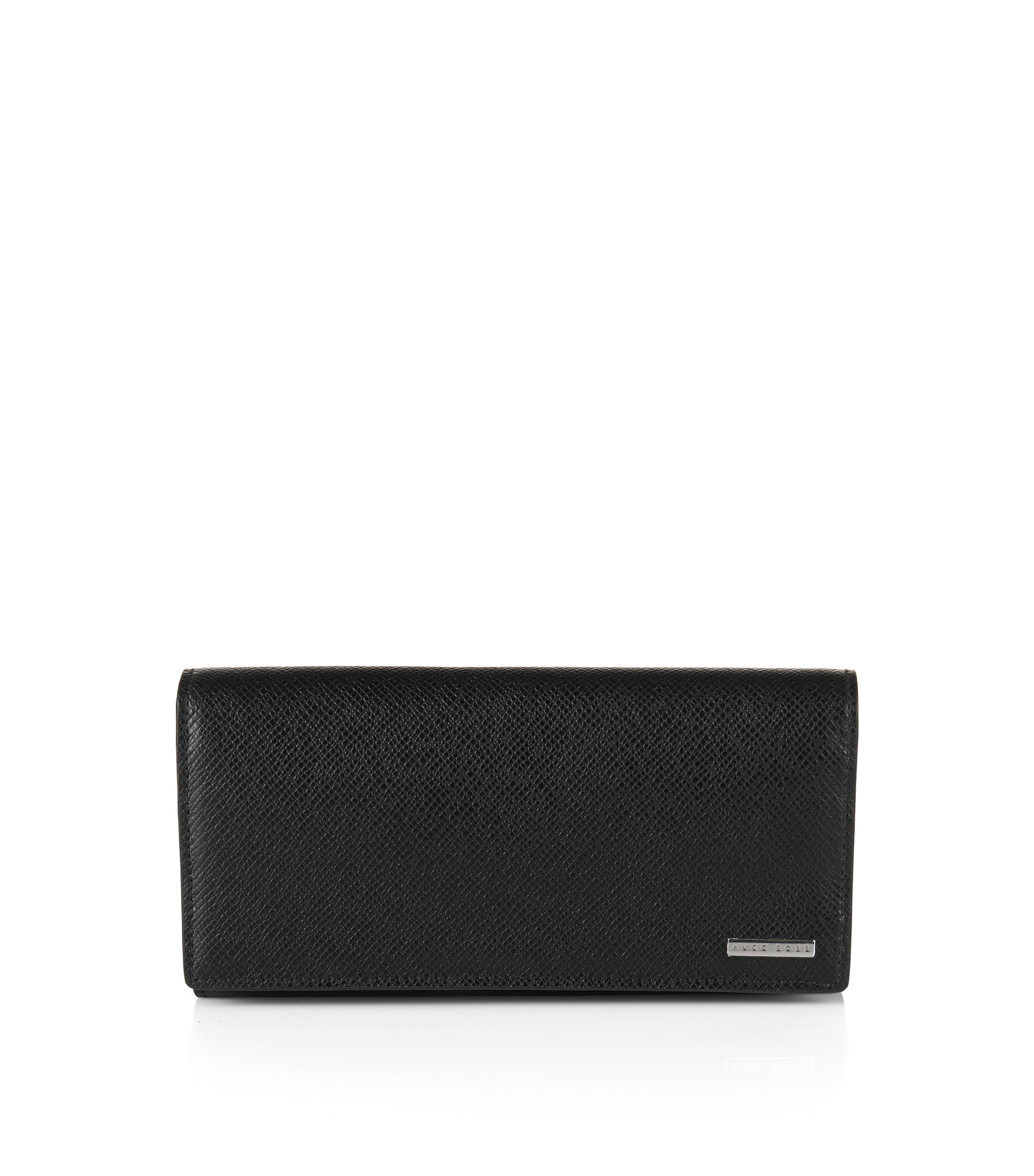 Plain wallet in embossed leather: 'Signature_Currency', Black