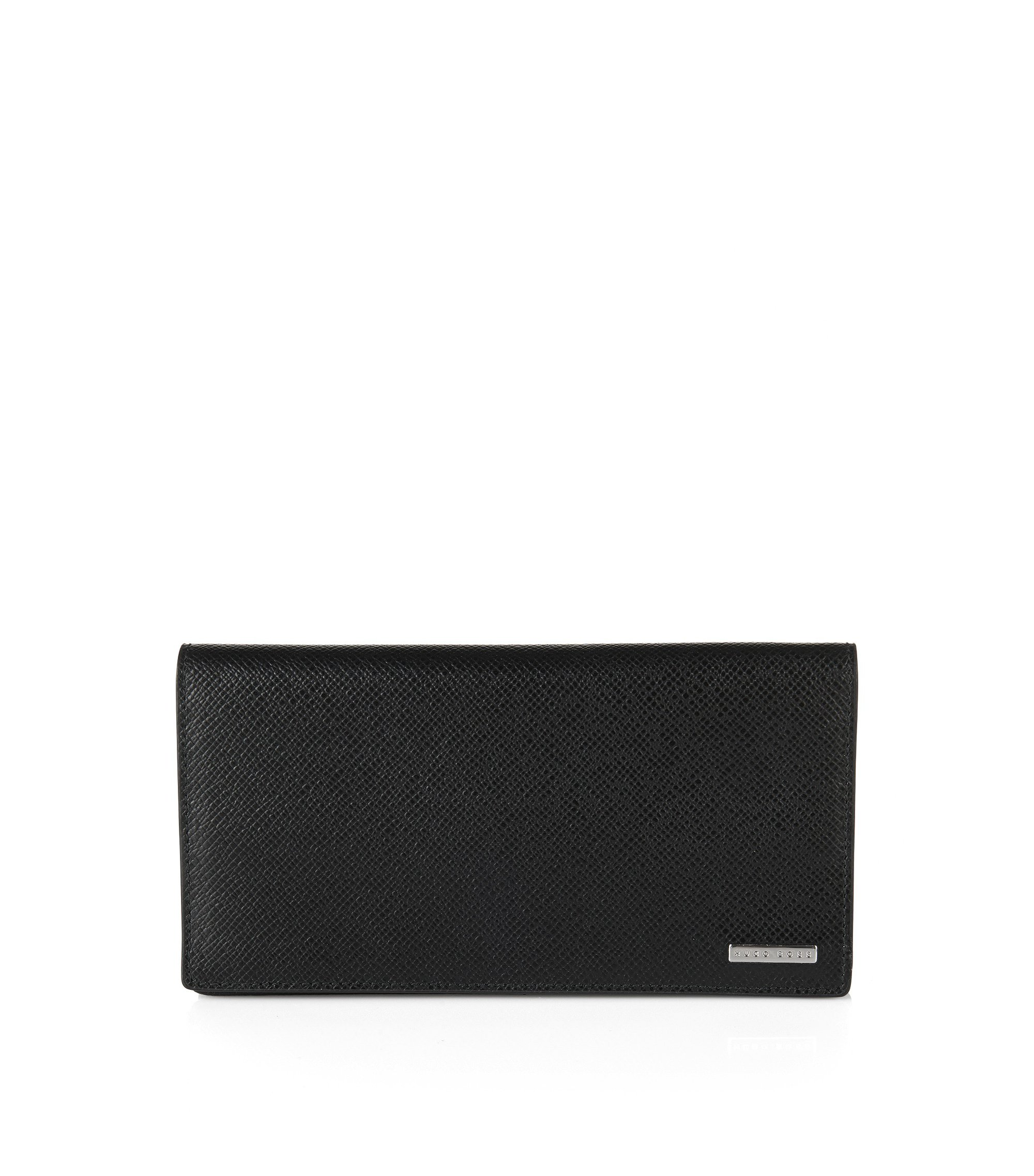 Cartera plegable de diseño continental en piel palmellato de Signature Collection, Negro