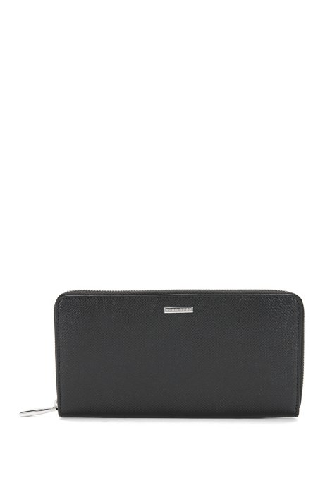 BOSS Signature Collection ziparound wallet in palmellato leather, Black